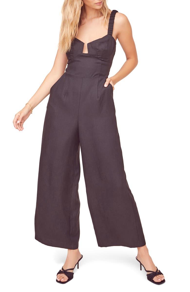 ASTR THE LABEL Versaille Sleeveless Wide Leg Jumpsuit, Main, color, BLACK
