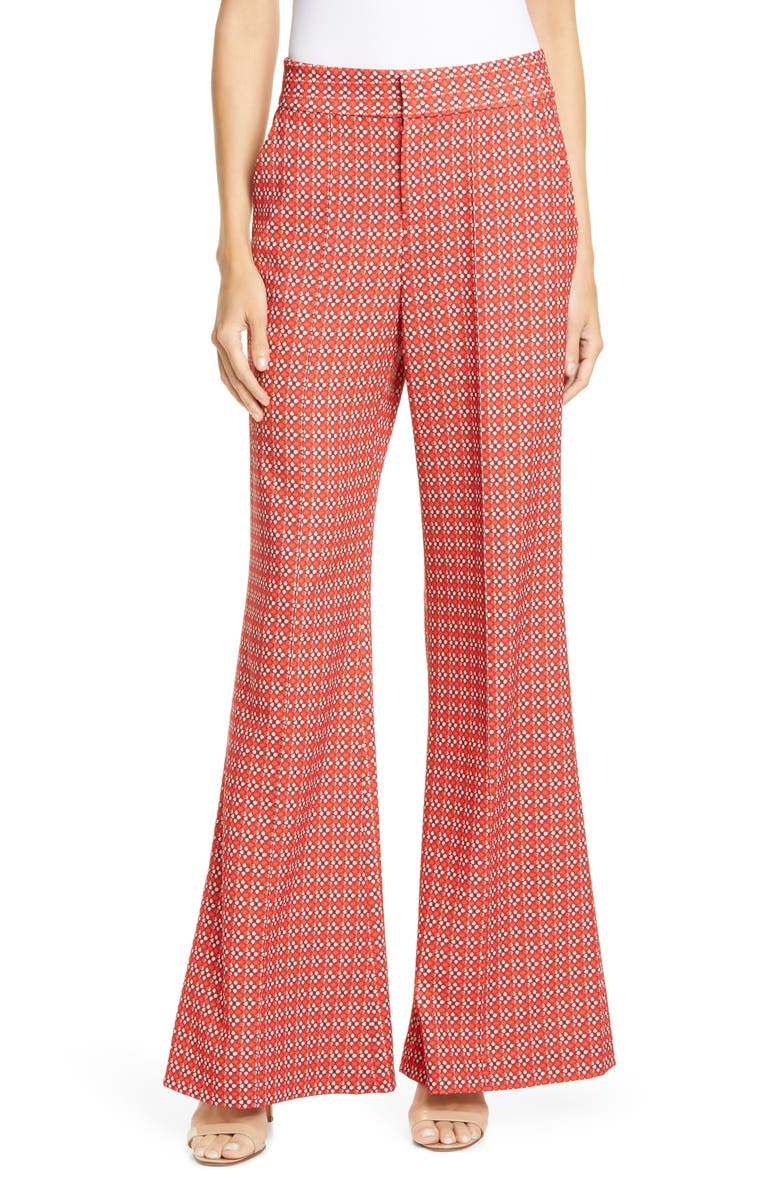 ALICE + OLIVIA Dylan High Waist Wide Leg Pants, Main, color, HEART FLOWER CHERRY
