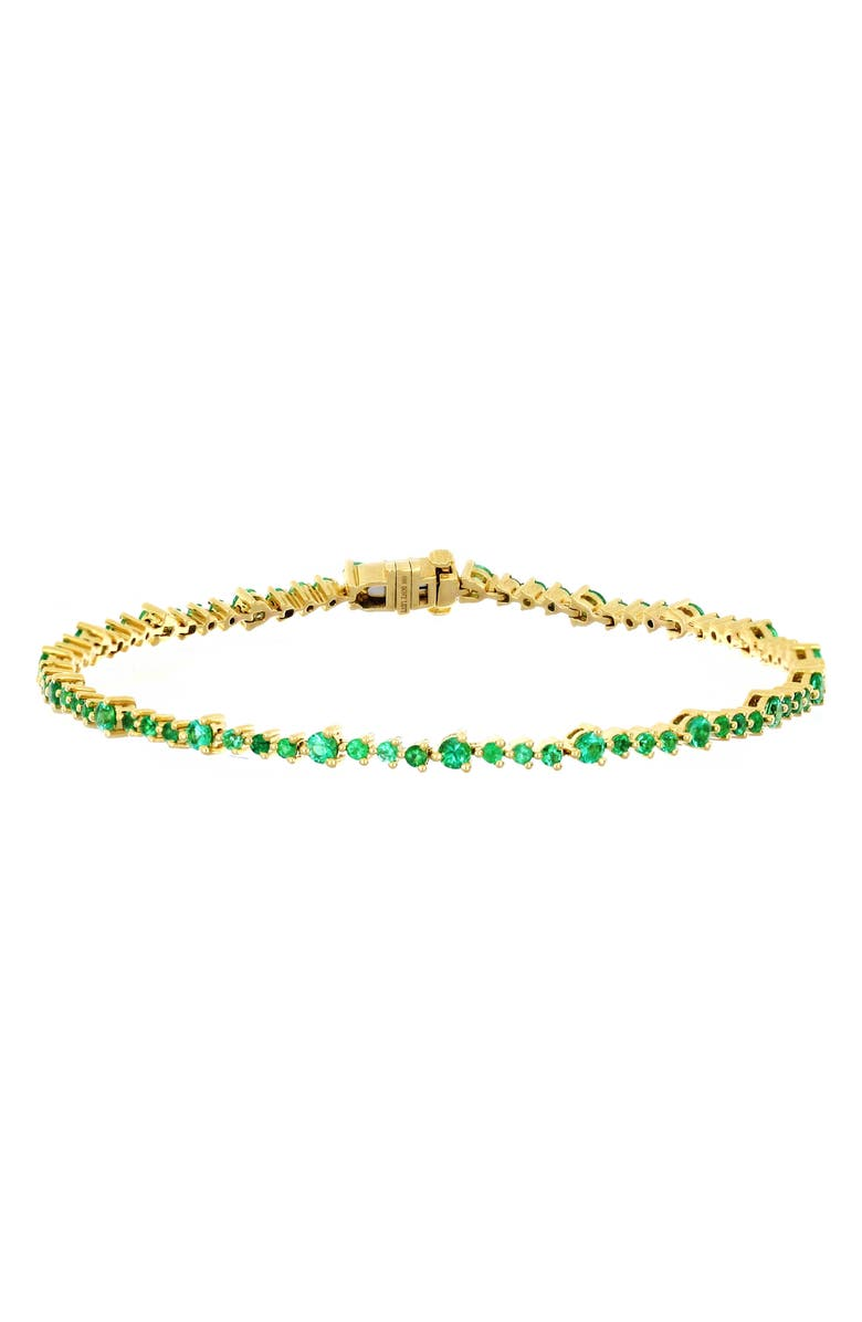 BONY LEVY Emerald Tennis Bracelet, Main, color, YELLOW GOLD/ EMERALD