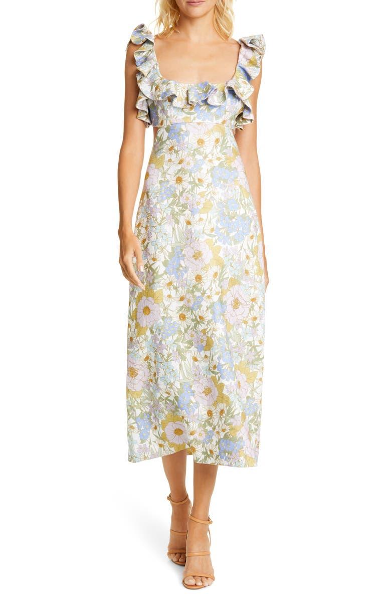 ZIMMERMANN Super Eight Floral Ruffle Linen Midi Dress, Main, color, BLUE MEADOW