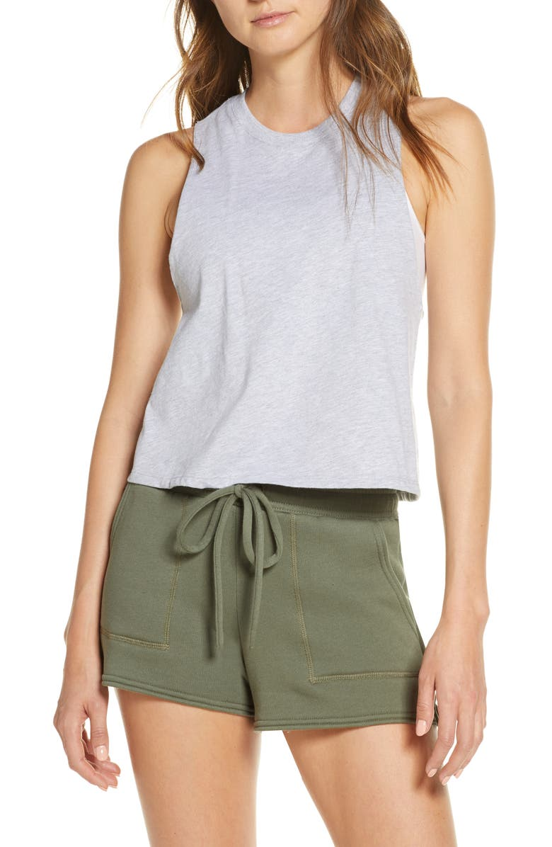 BELLA+CANVAS Racerback Crop Tank, Main, color, ATHLETIC HEATHER