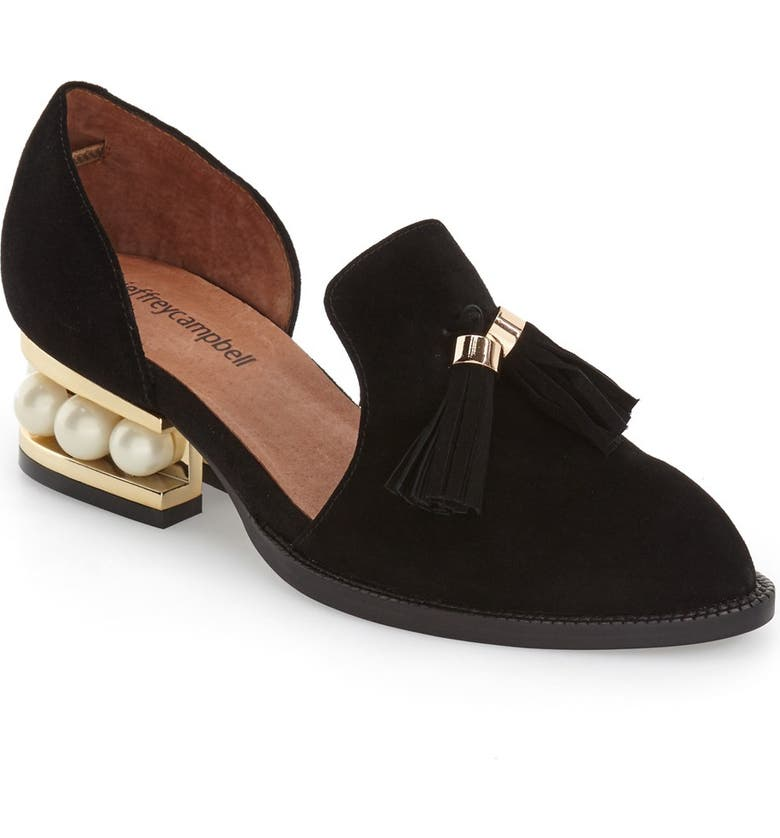 JEFFREY CAMPBELL 'Civil' Pearly Heeled Beaded Tassel Loafer, Main, color, 001