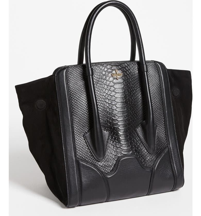 POUR LA VICTOIRE 'Butler - Large' Snake Embossed Leather & Suede Tote, Main, color, 001