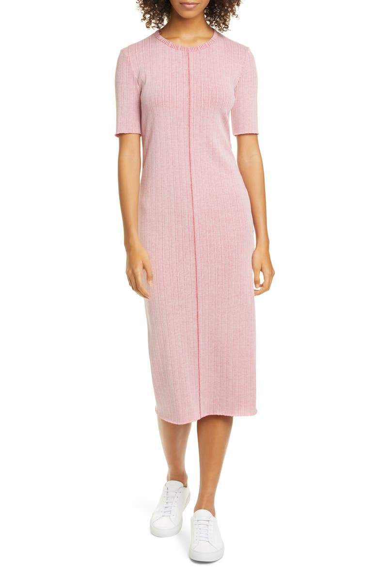 RAG & BONE Elina Ribbed Cotton Blend Midi Dress, Main, color, WHITE PINK