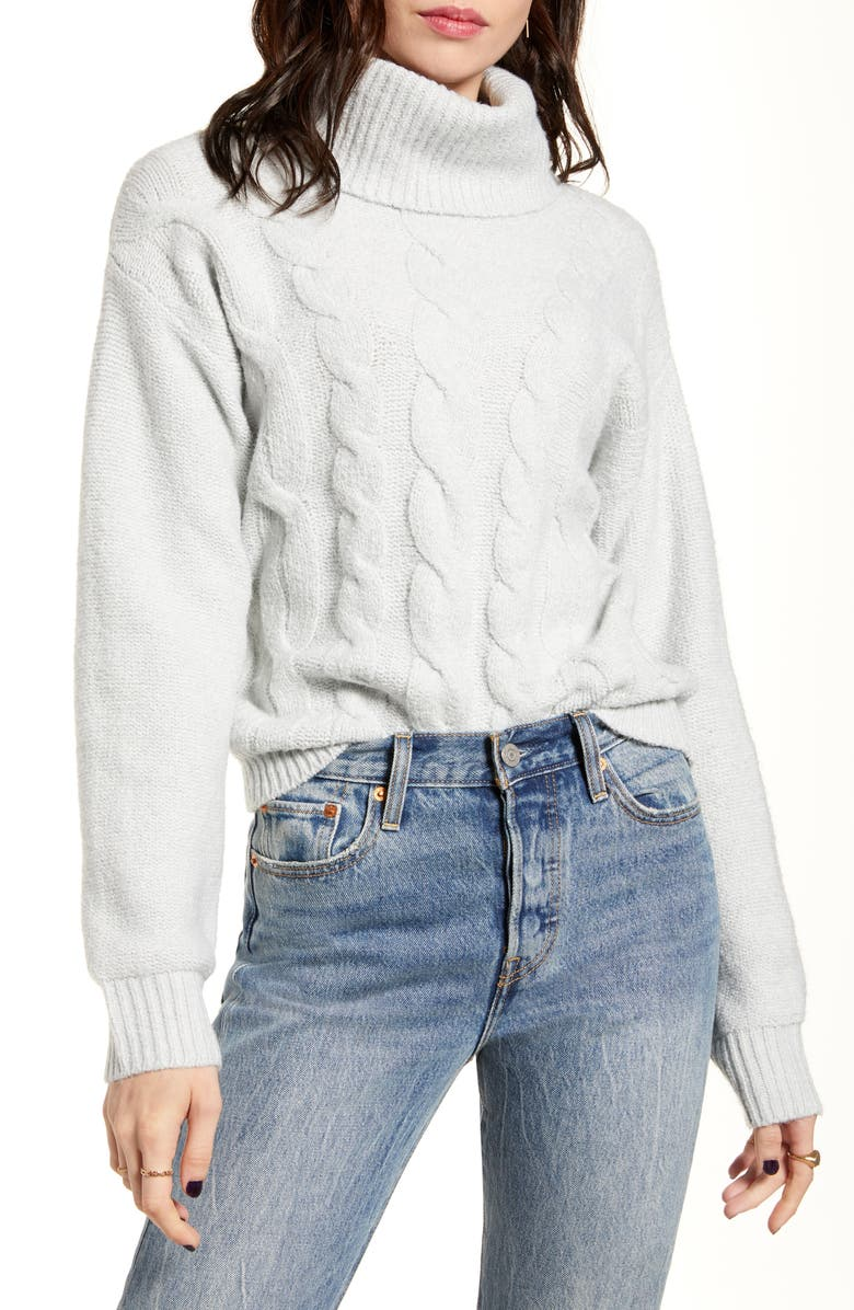 BP. Cable Stitch Turtleneck Sweater, Main, color, GREY QUIET HEATHER