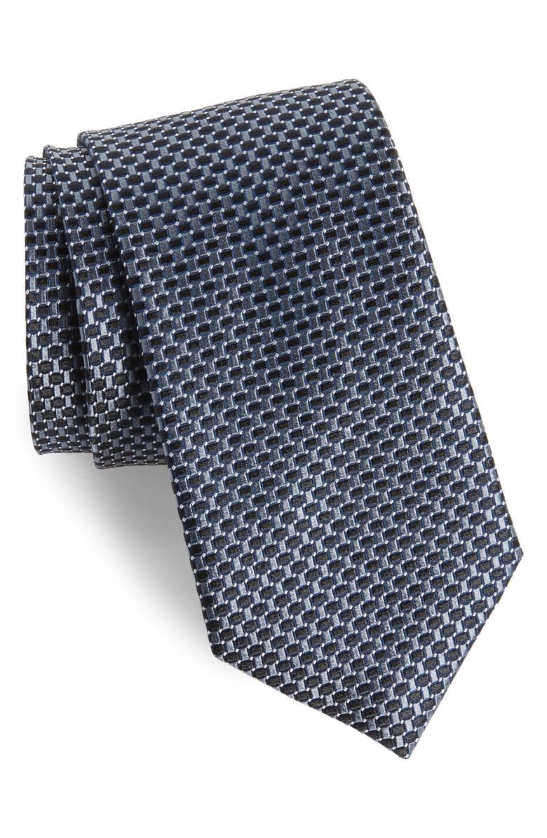 NORDSTROM MEN'S SHOP Basketweave Silk Tie, Main, color, 001