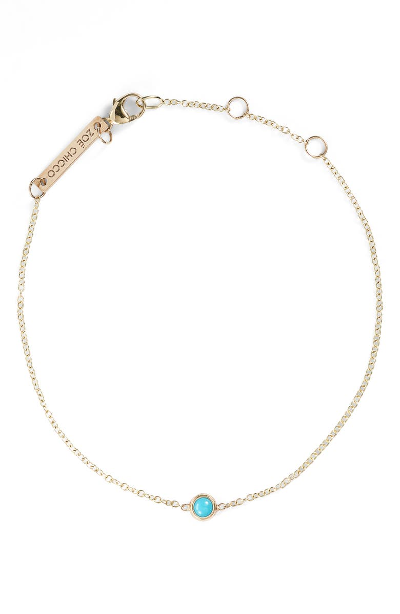ZOË CHICCO Turquoise Bezel Line Bracelet, Main, color, YELLOW GOLD/ TURQUOISE
