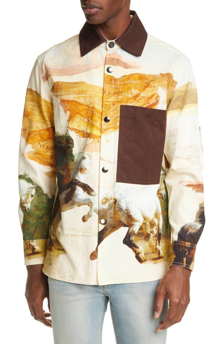 ACNE STUDIOS Osmar Horse Shirt Jacket, Main, color, CREAM MULTI