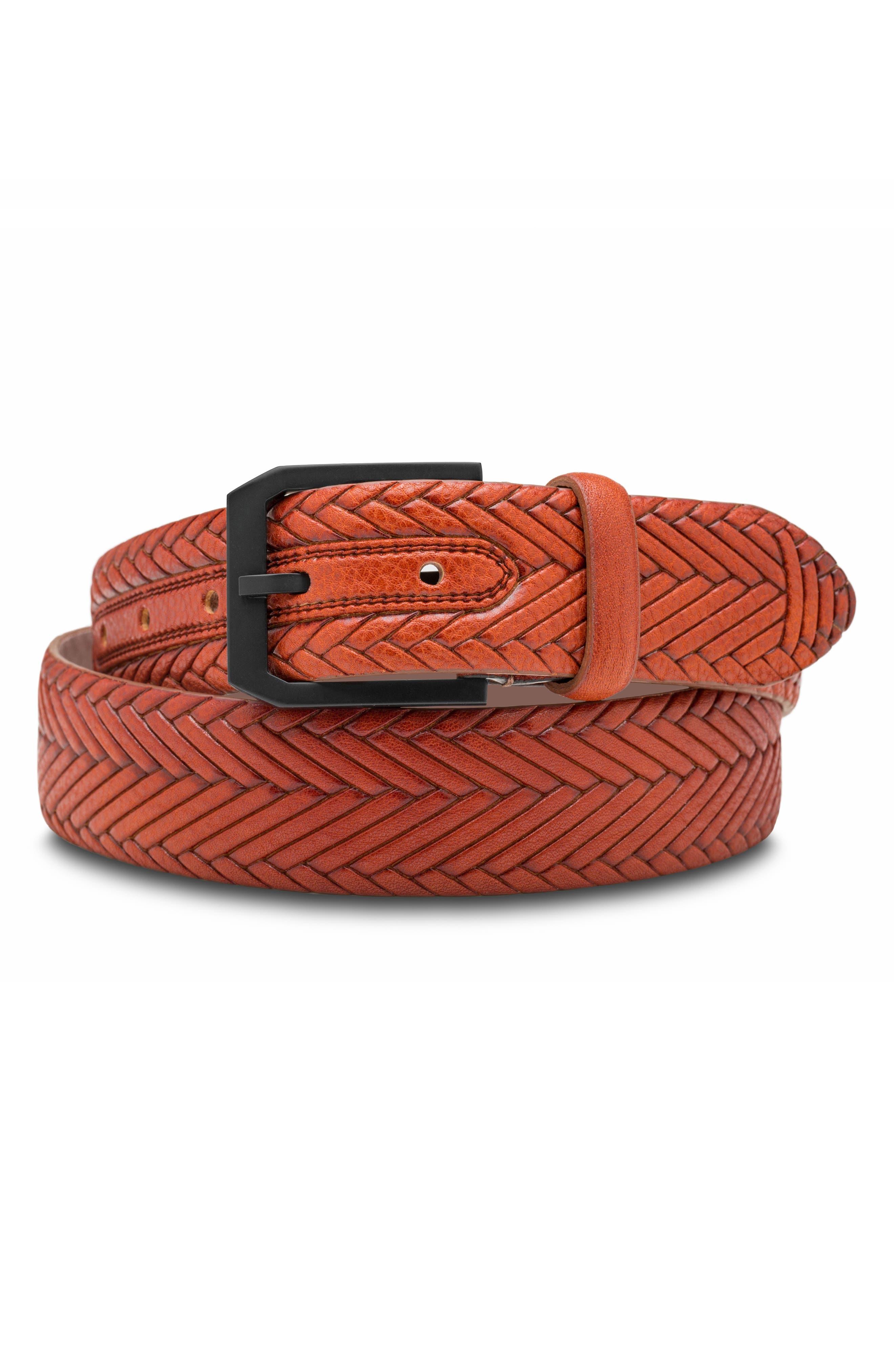 Vesuvio Braid Embossed Leather Belt