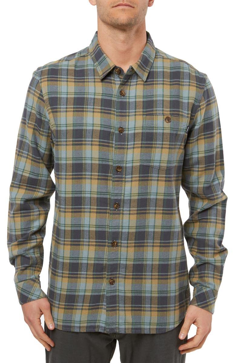 O'NEILL Redmond Regular Fit Plaid Flannel Shirt, Main, color, LIGHT BLUE