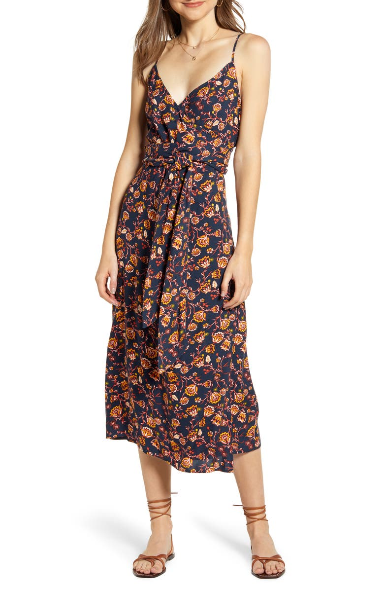 HINGE Floral Sleeveless Wrap Dress, Main, color, NAVY SPACE ABSTRACT FLORAL