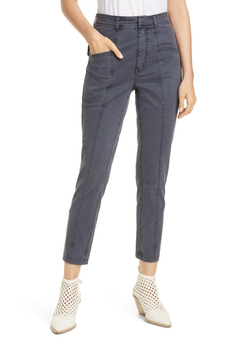 LA VIE REBECCA TAYLOR Crop Stretch Twill Pants, Main, color, WASHED BLACK