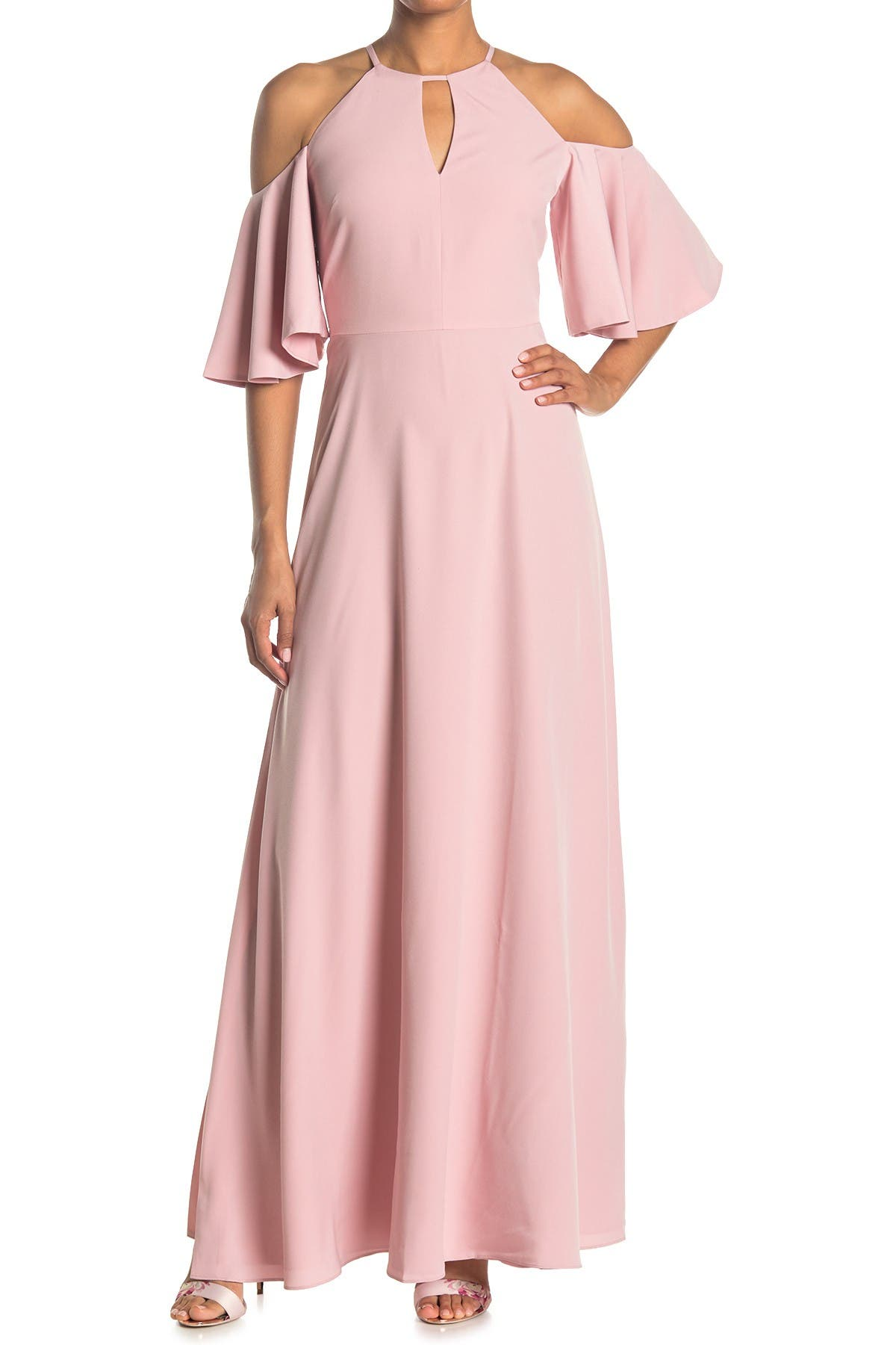 Image of Ted Baker London Dulciee Cold Shoulder Bell Sleeve Maxi Dress