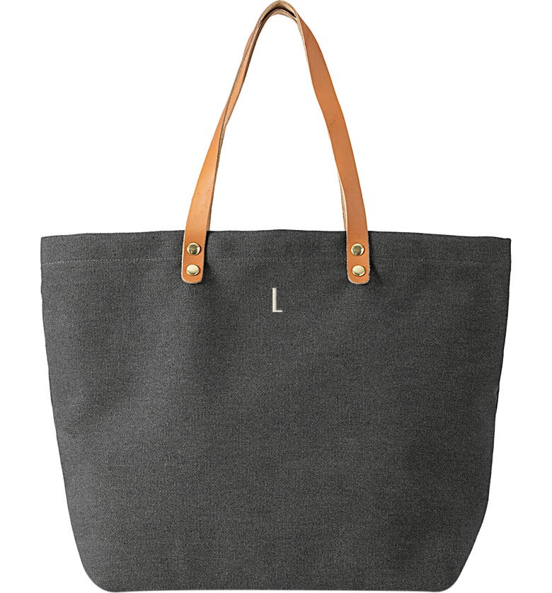 CATHY'S CONCEPTS Monogram Washed Canvas Tote, Main, color, BLACK-L