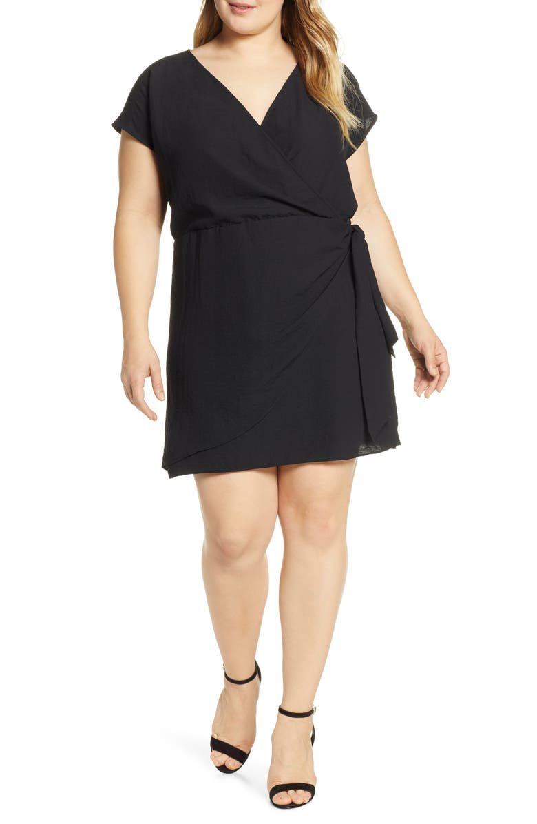 LEITH Wrap Minidress, Main, color, BLACK