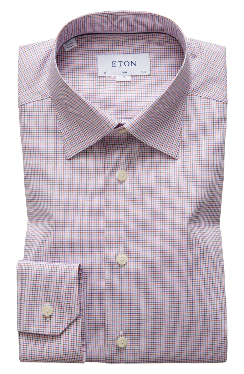 ETON Slim Fit Check Dress Shirt, Main, color, RED