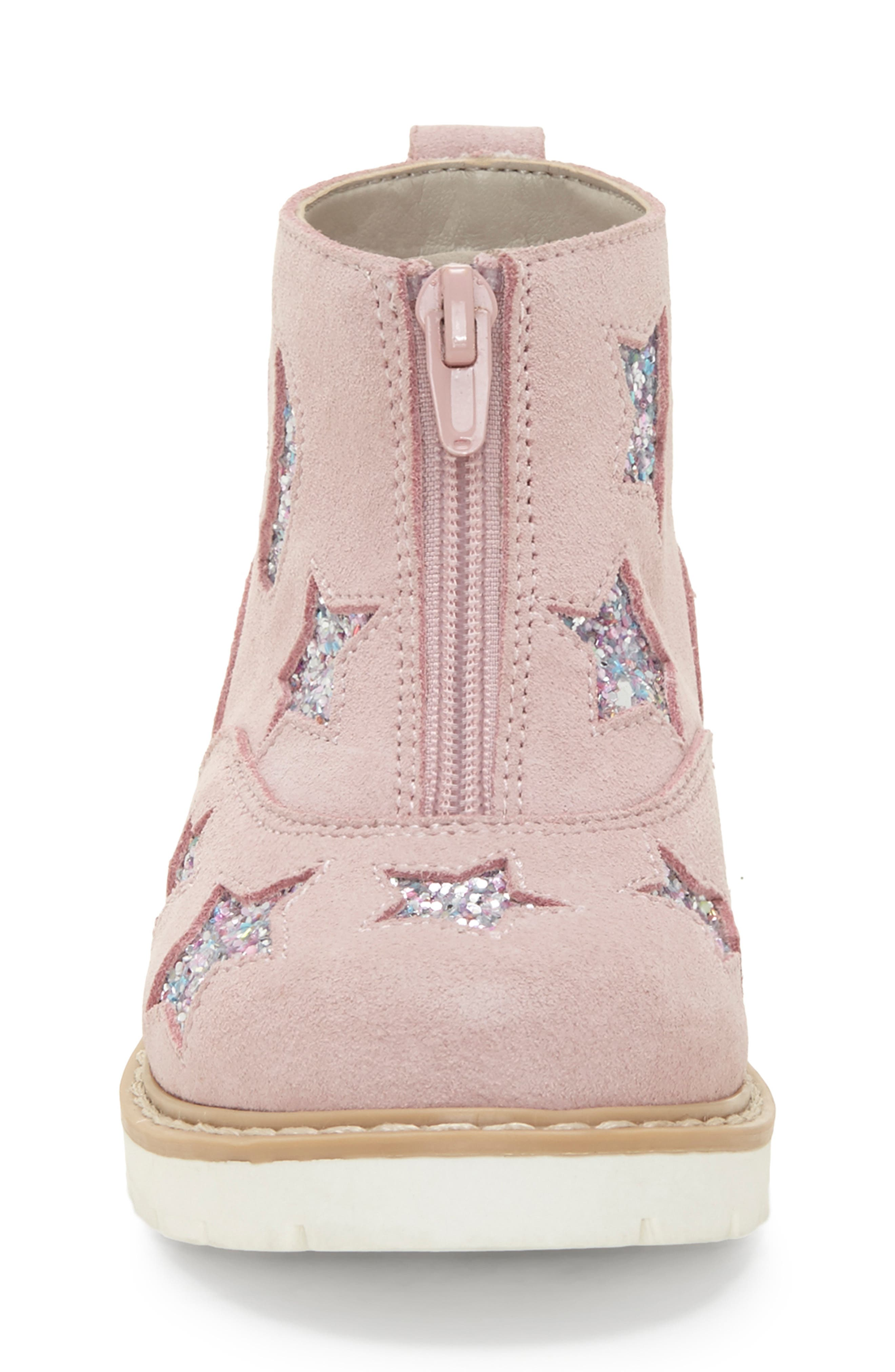 ,                             Aisha Glittery Front Zip Bootie,                             Alternate thumbnail 4, color,                             FAIRY PINK/ SILVER