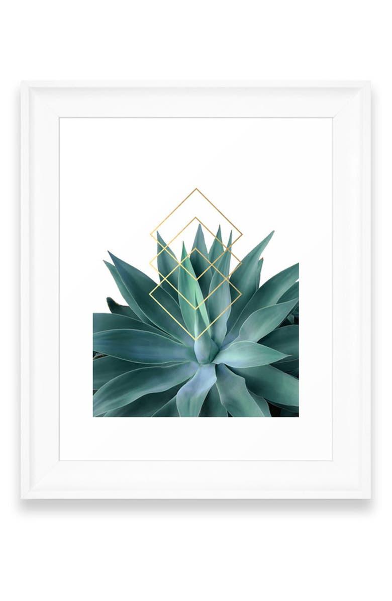 DENY DESIGNS Agave Geometrics Art Print, Main, color, WHITE FRAME