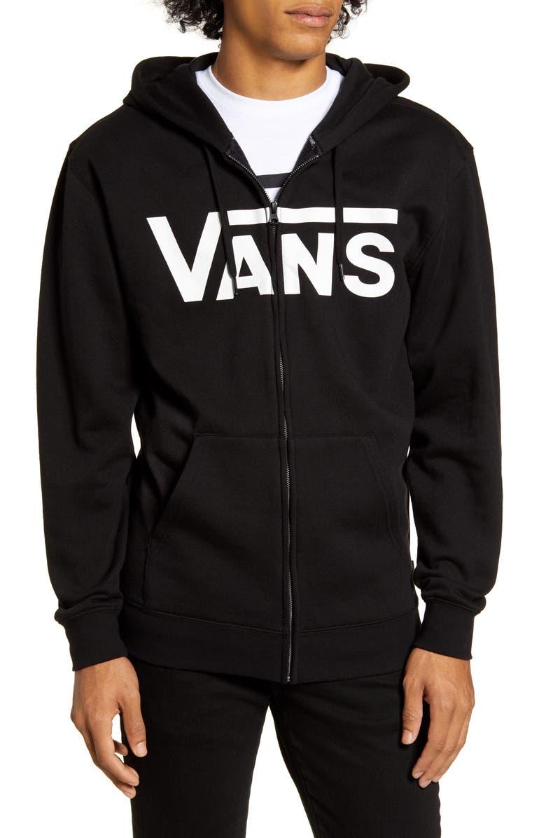 VANS Scratched Logo Zip Hoodie, Main, color, BLACK/ WHITE