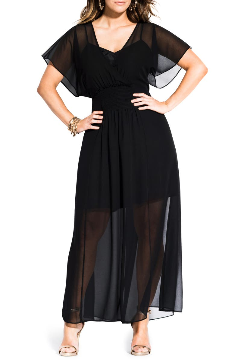 CITY CHIC Spirited Maxi Dress, Main, color, BLACK
