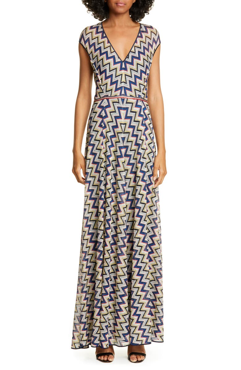 MISSONI Metallic Zigzag Maxi Sweater Dress, Main, color, NAVY