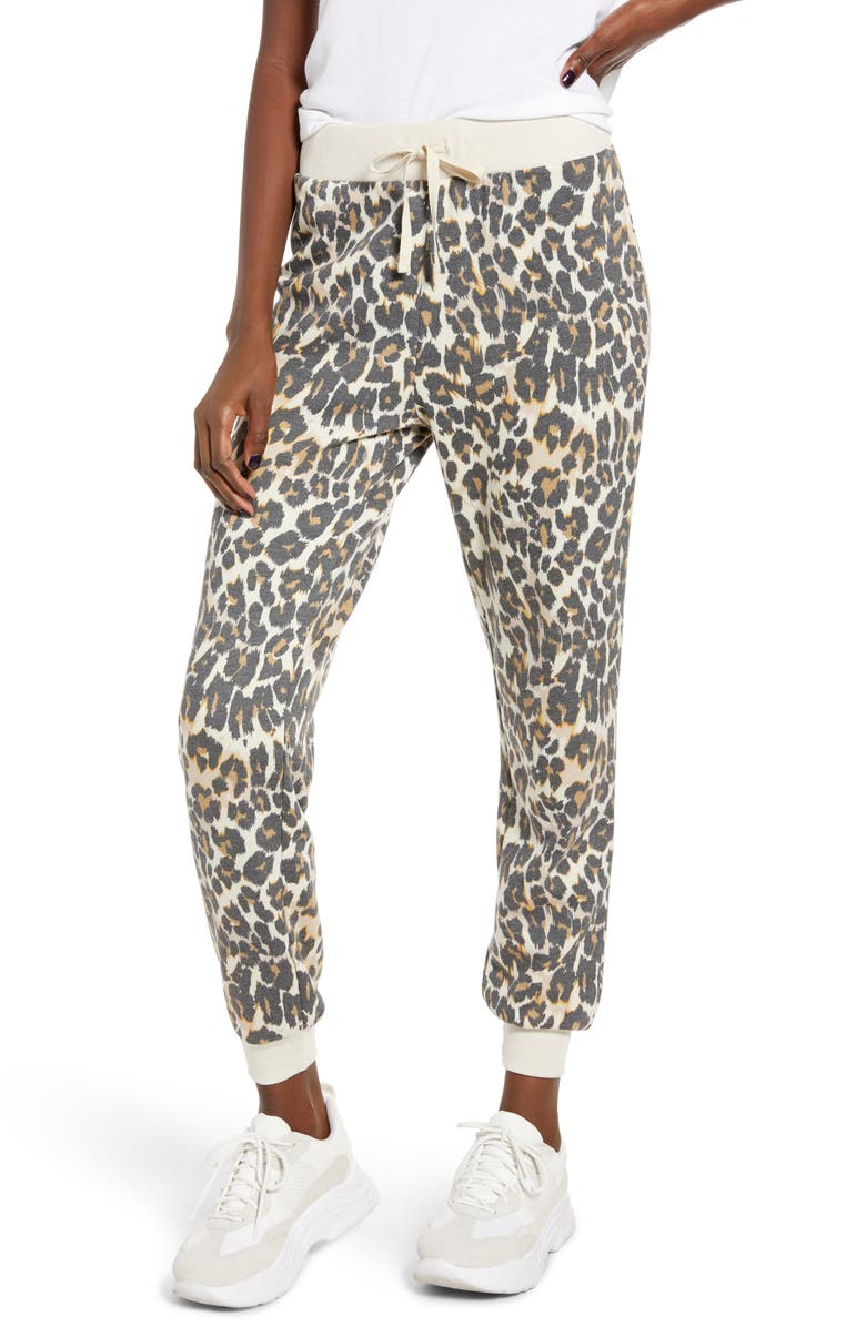 BP. Jogger Sweatpants, Main, color, BEIGE BIRCH LEOPARD DASH