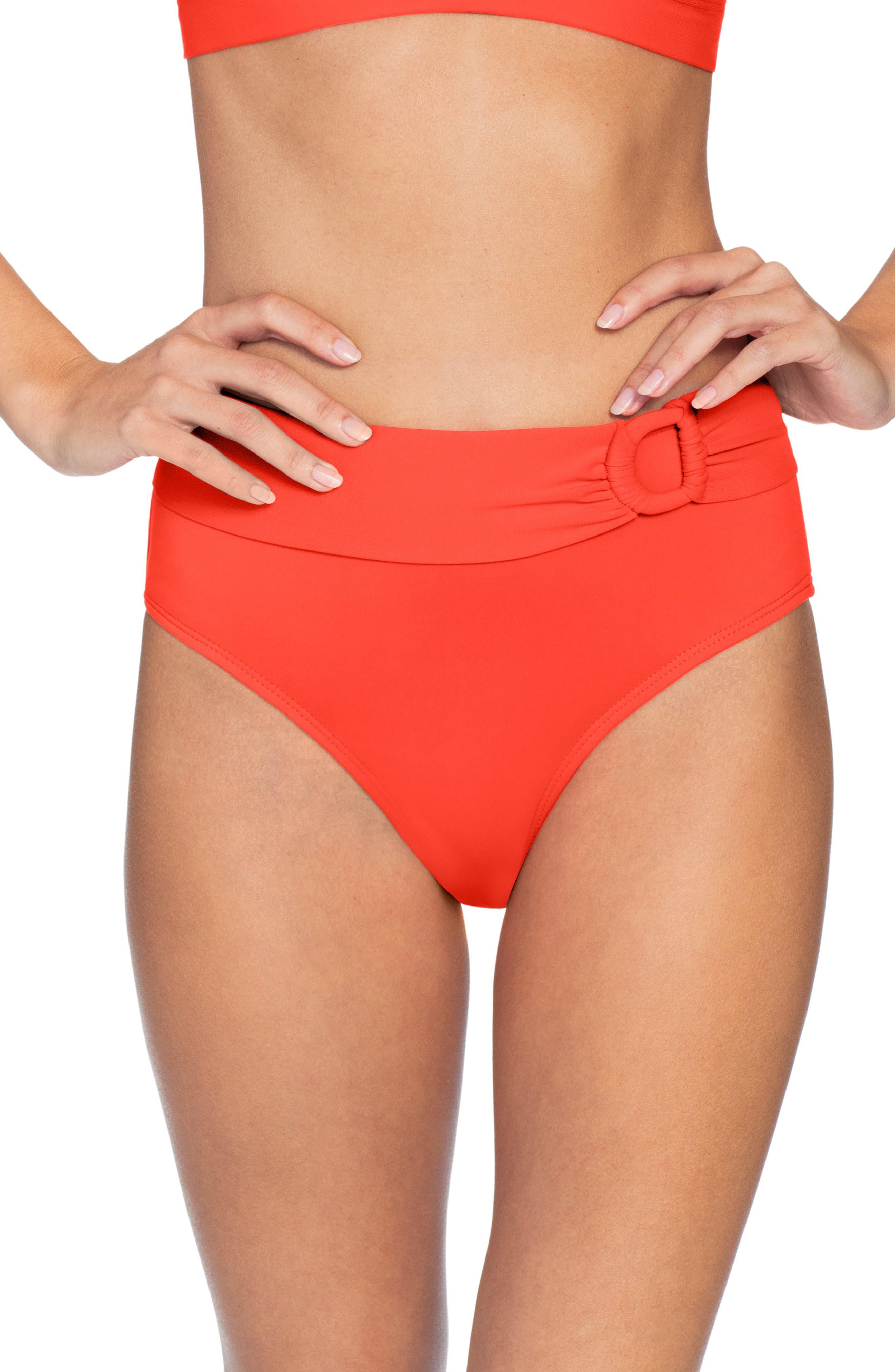Robin Piccone Kate High Waist Bikini Bottoms, Orange