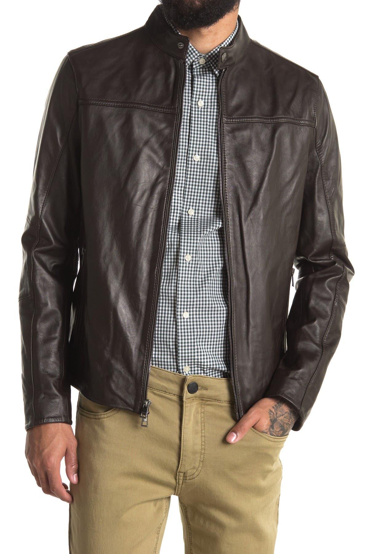Image of Michael Kors Basic Racer Leather Jacket