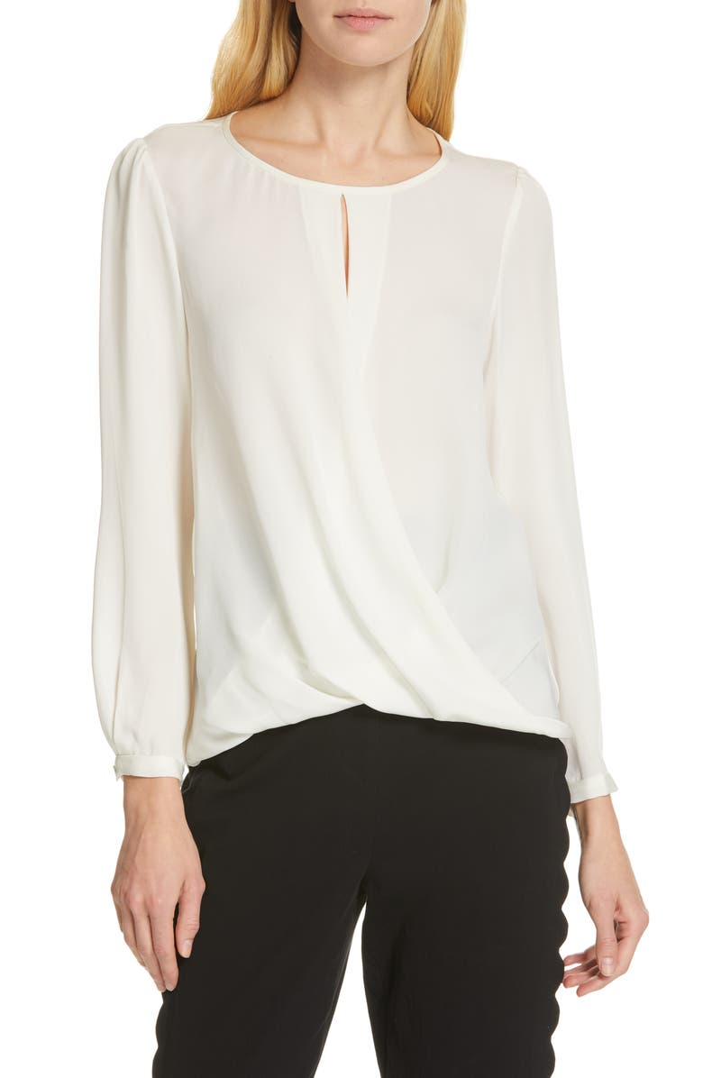 TAILORED BY REBECCA TAYLOR Silk Georgette Top, Main, color, SNOW