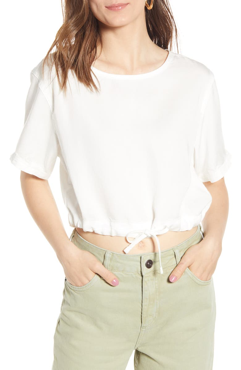 BDG Urban Outfitters Tie Hem Crop Top, Main, color, IVORY