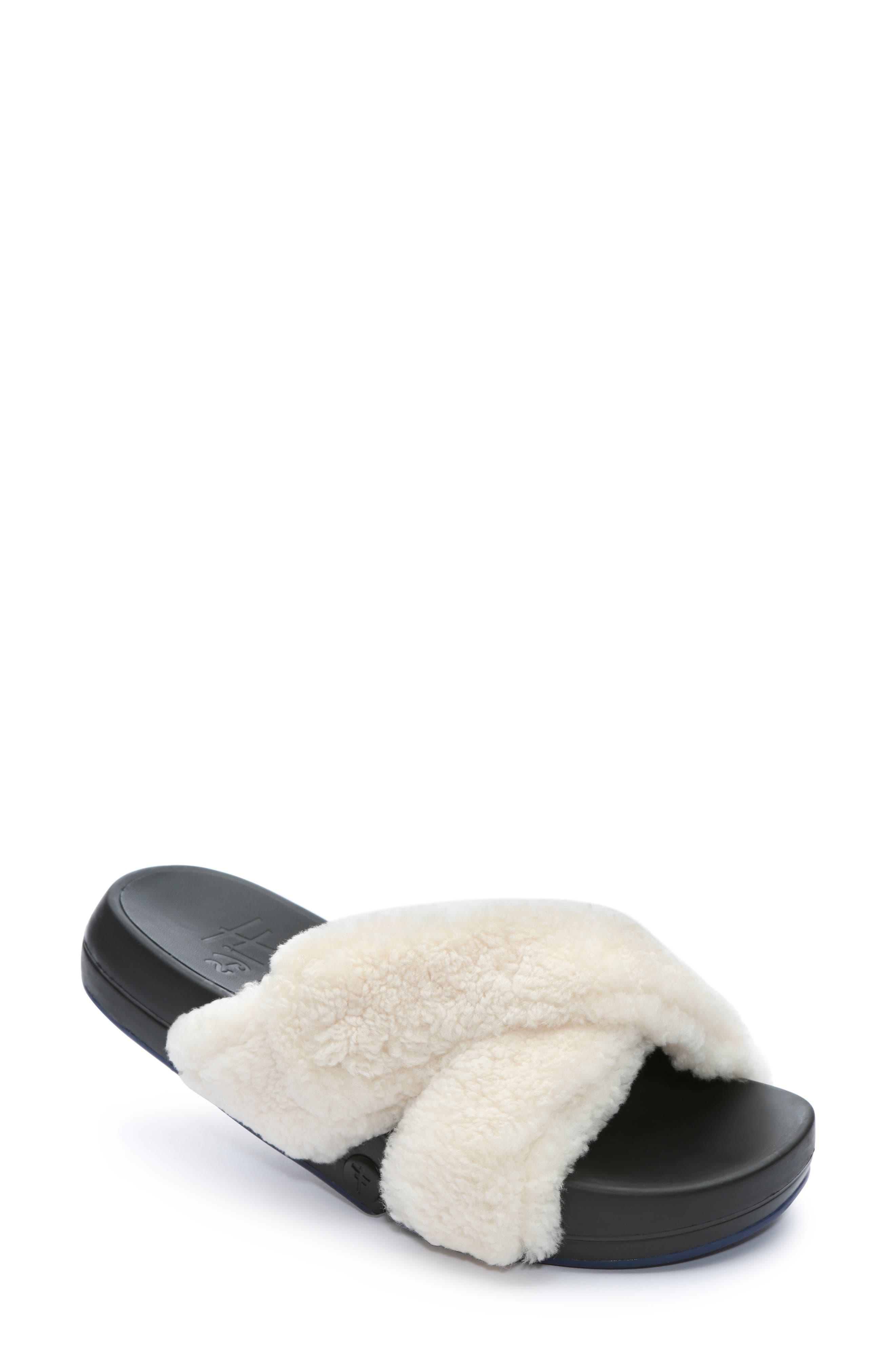 Figomatic Genuine Shearling Slide Sandal, Main, color, NUDE SHEARLING