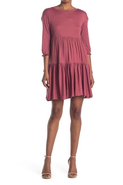 Image of MELLODAY Elbow Sleeve Cozy Babydoll Dress