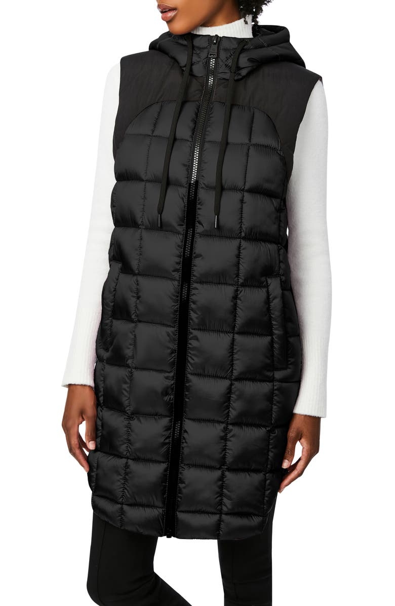 BERNARDO EcoPlume<sup>™</sup> Box Quilt Long Hooded Vest, Main, color, BLACK