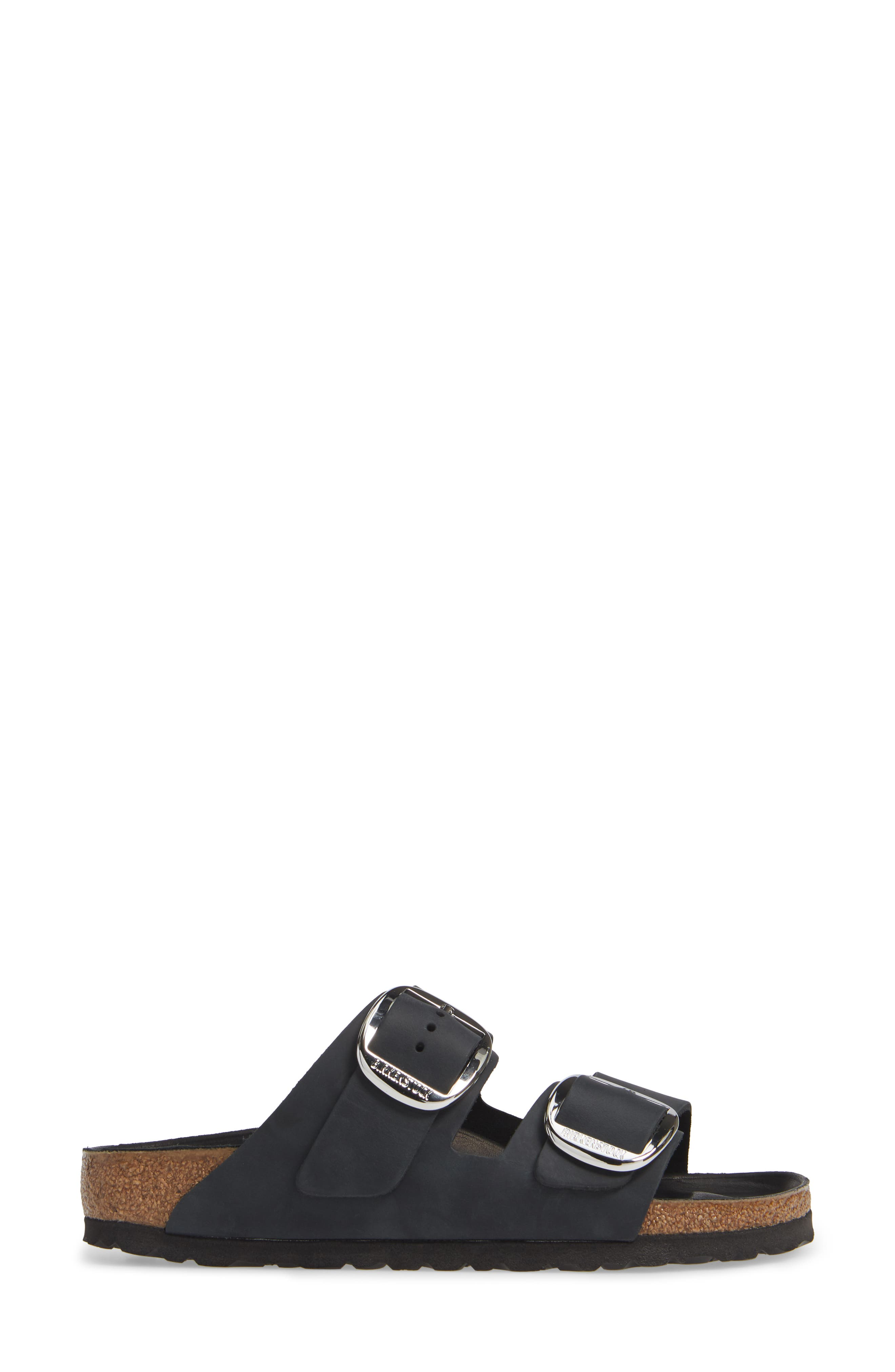 ,                             Arizona Big Buckle Slide Sandal,                             Alternate thumbnail 3, color,                             BLACK OILED LEATHER