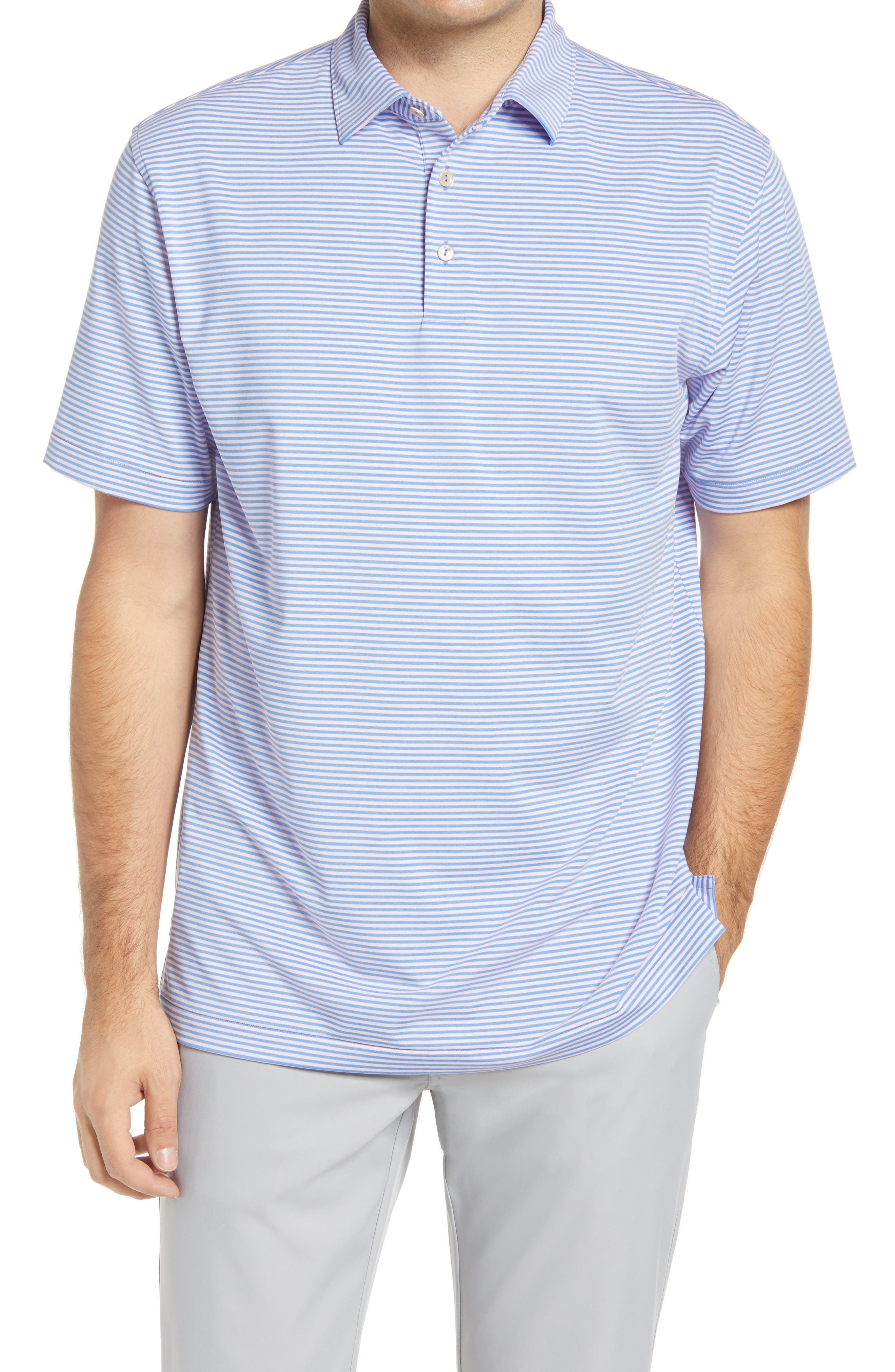 Stretchy, moisture-wicking fabric keeps up with you all day in a comfortably cut polo that offers added sun protection and helps keep odors at bay. Style Name: Peter Millar Hales Stripe Short Sleeve Performance Polo. Style Number: 6053354. Available in stores.