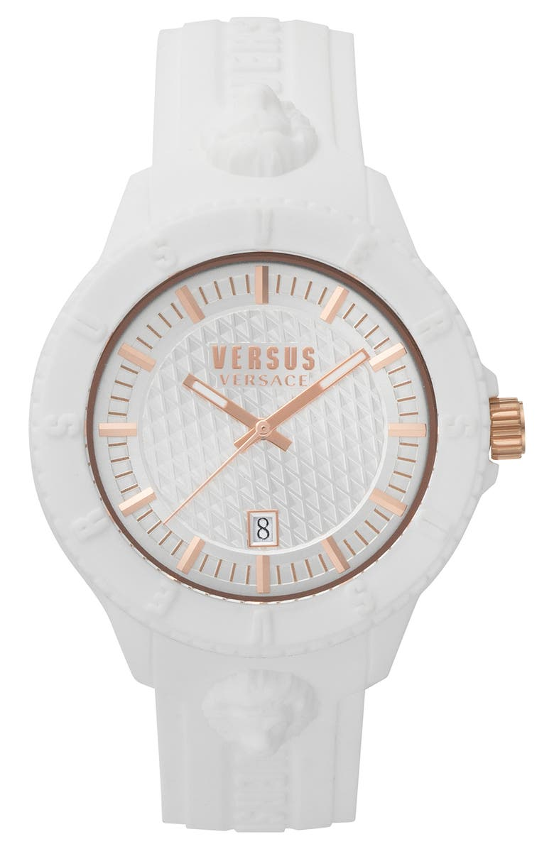 VERSUS VERSACE VERSUS by Versace Tokyo Silicone Strap Watch, 43mm, Main, color, WHITE