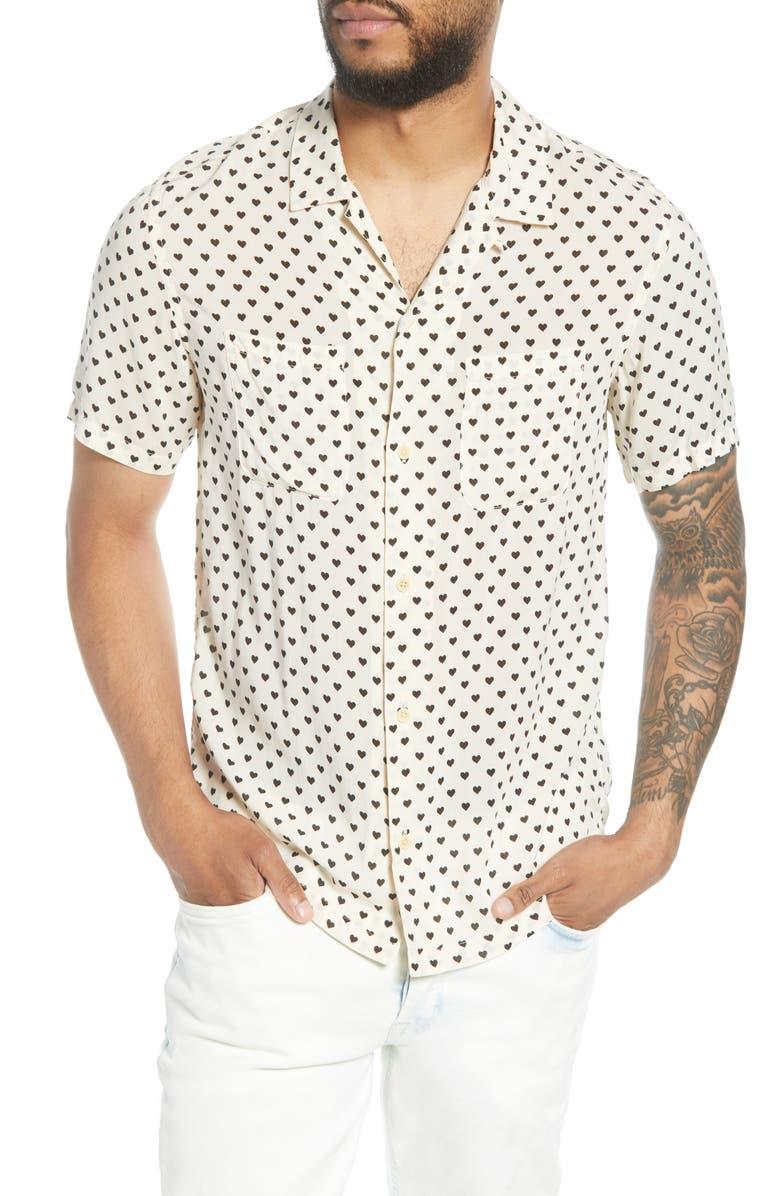 ALLSAINTS Valentine Print Short Sleeve Button-Up Camp Shirt, Main, color, ECRU WHITE/ BLACK