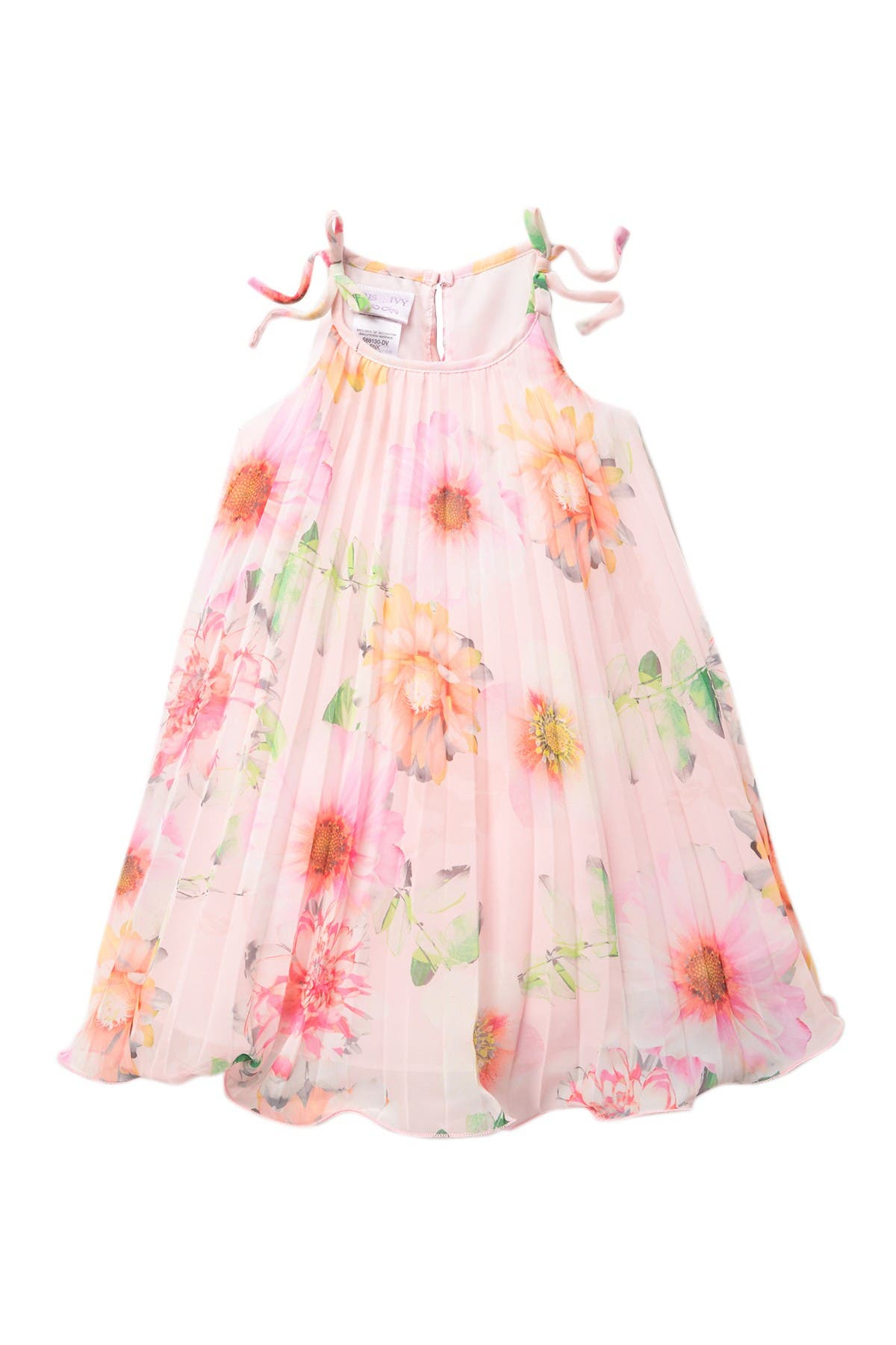 Image of GERSON & GERSON Crystal Pleated Floral Float Dress (Toddler & Little Girls)