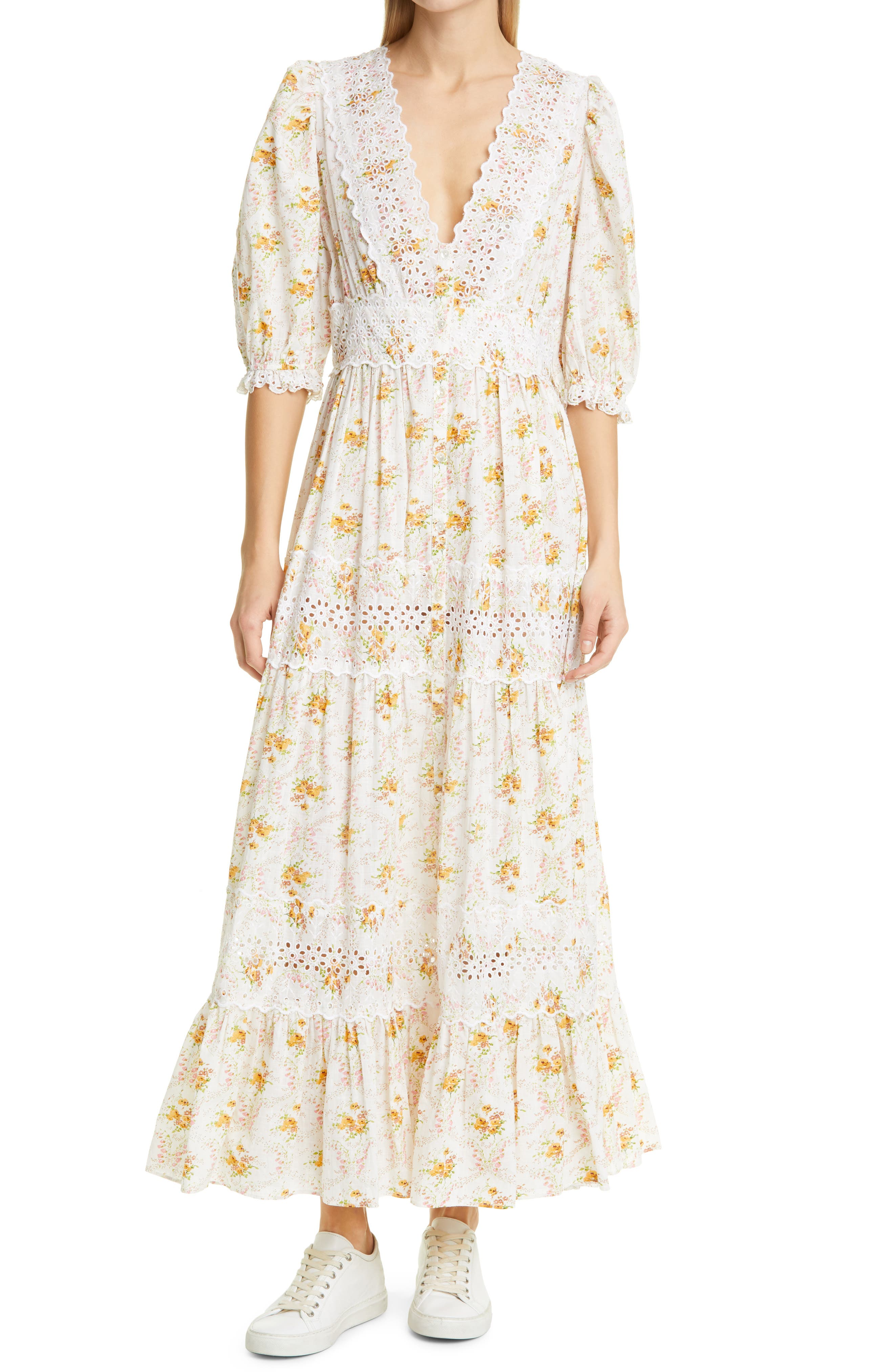 Floral Broderie Anglaise Maxi Dress