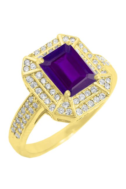 Image of Savvy Cie 18K Gold Vermeil Lab Created Amethyst & CZ Rectangle Ring