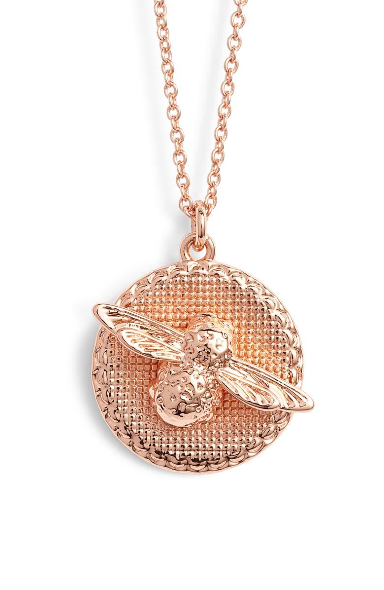 OLIVIA BURTON Bee Pendant Necklace, Main, color, ROSE GOLD