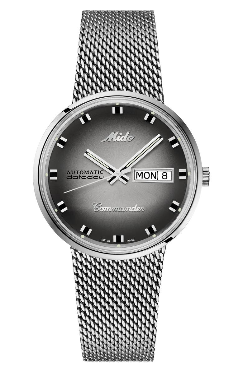 MIDO Commander Shade Mesh Strap Watch, Main, color, SILVER