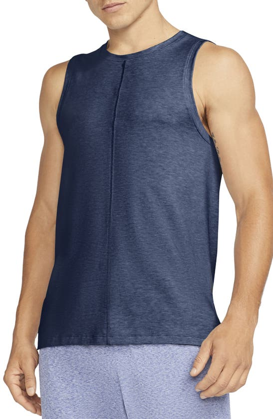 Nike Dri-fit Yoga Tank In Midnight Navy/ Ashen Slate