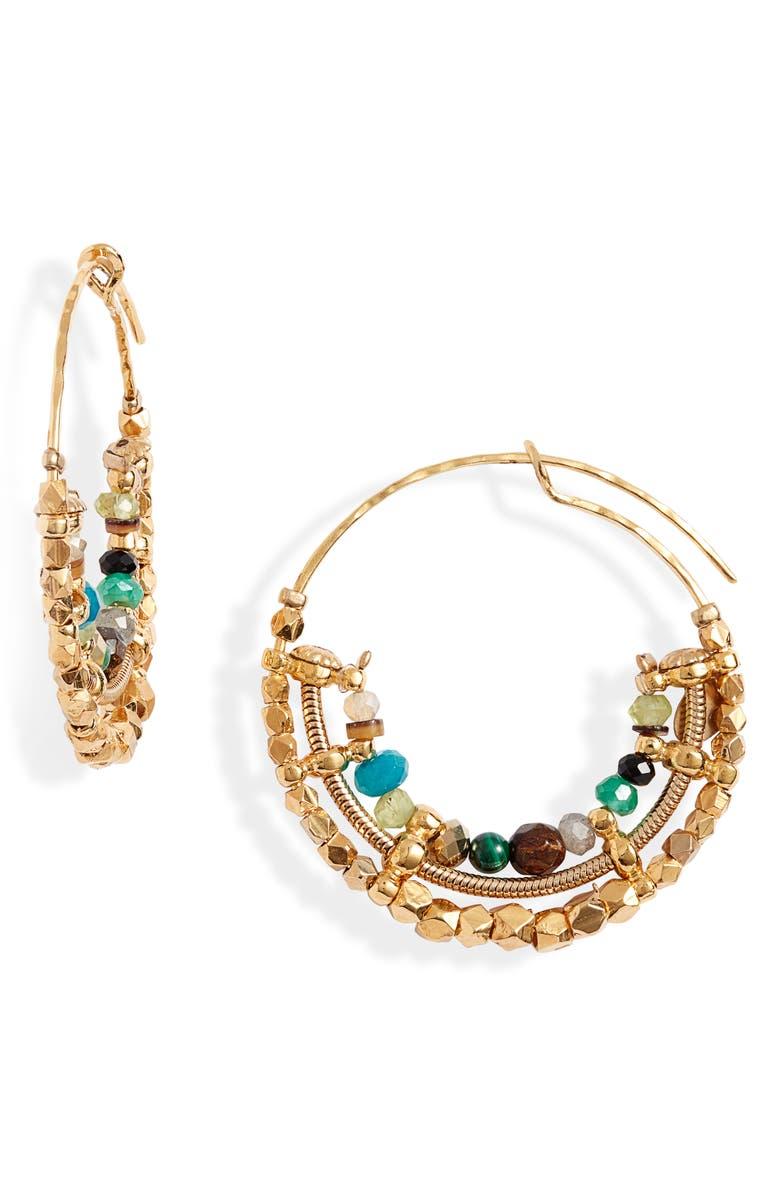 GAS BIJOUX Comida Mini Hoop Earrings, Main, color, MULTI/ GREEN