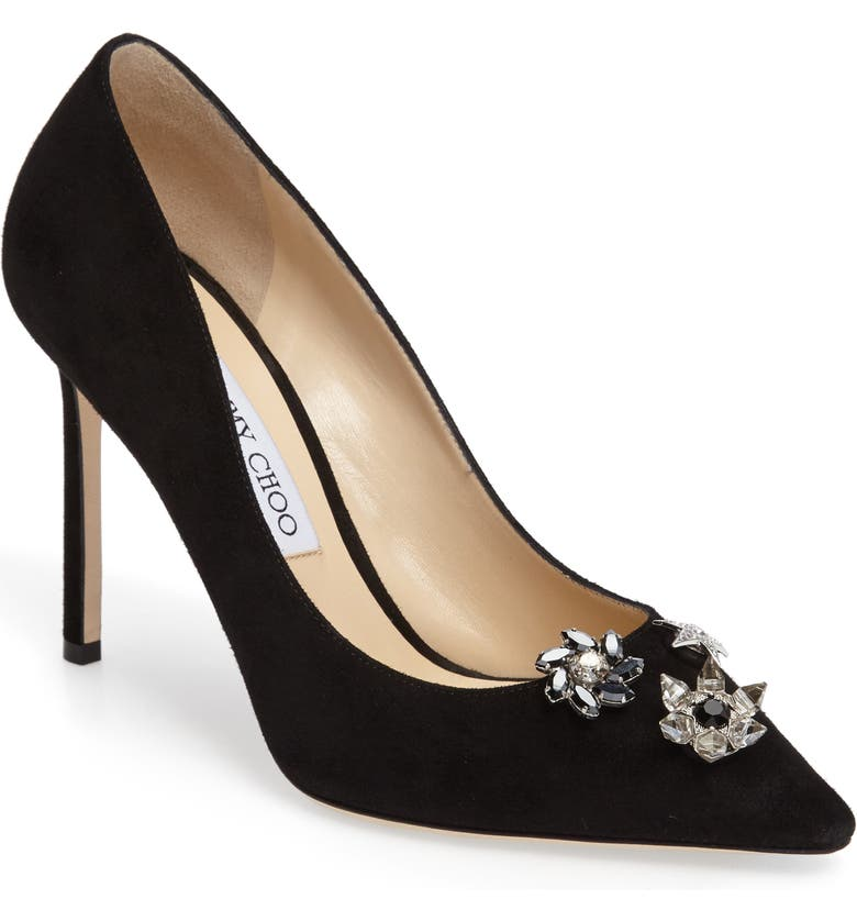 JIMMY CHOO Jasmine Crystal Brooch Embellished Pump, Main, color, 001