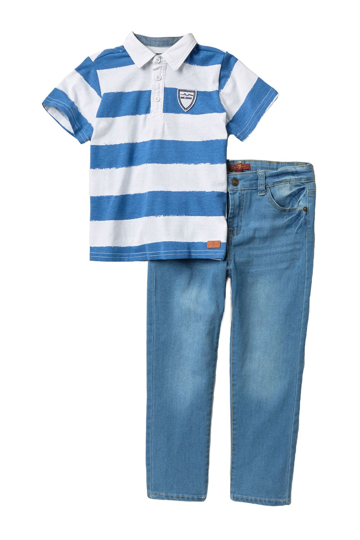 Image of 7 For All Mankind Rugby T-Shirt & Pants Set