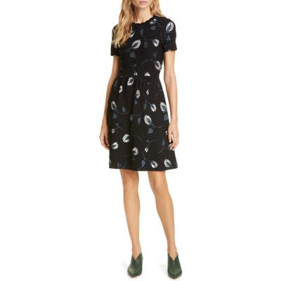 Kate Spade New York Deco Bloom Scallop Fit & Flare Dress