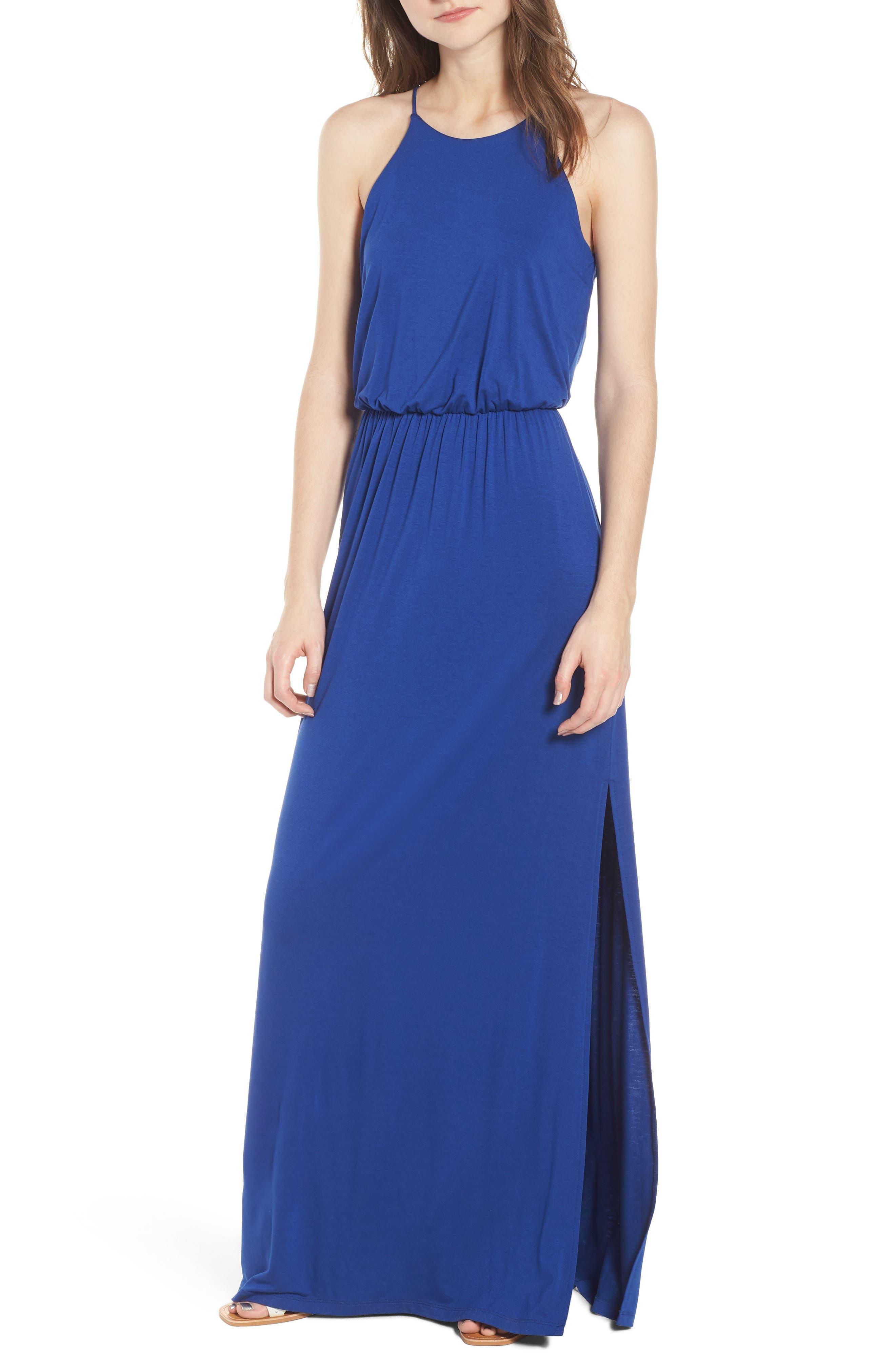 High Neck Maxi Dress, Main, color, 408