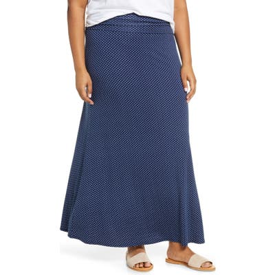 Plus Size Loveappella Roll Top Maxi Skirt, Blue