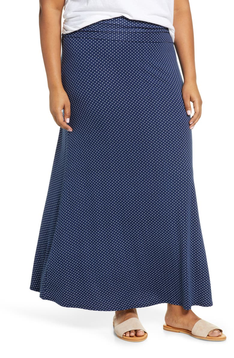 LOVEAPPELLA Roll Top Maxi Skirt, Main, color, NAVY/ IVORY
